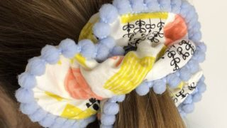 How to make a hair scrunchie with pompom trim