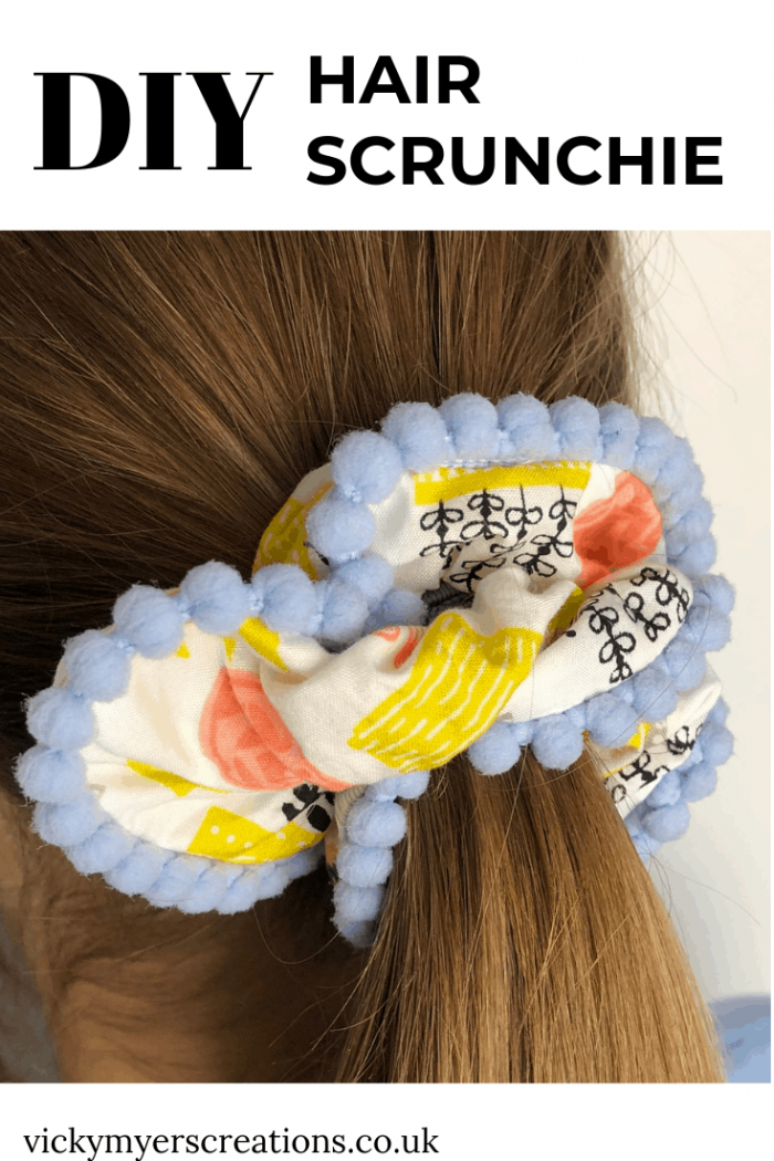 How to make a hair scrunchie with pompom trim 2