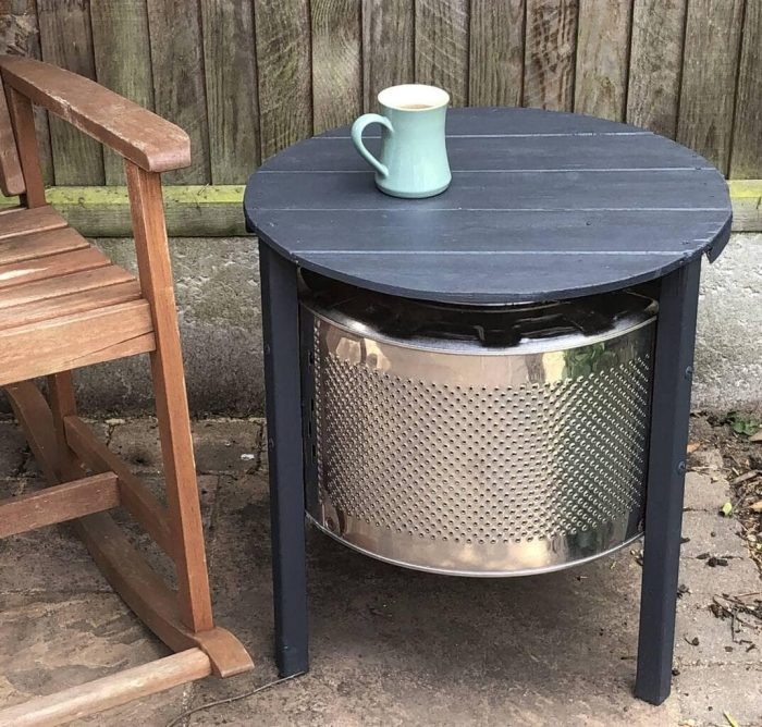 DIY Coffee Table made with an upcycle washing machine drum 22