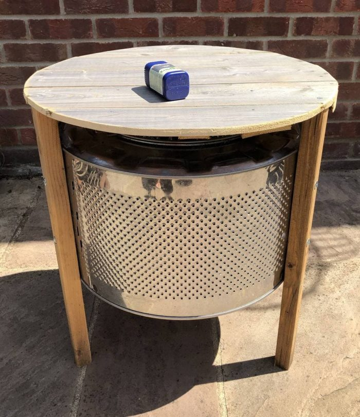 DIY Coffee Table made with an upcycle washing machine drum 20