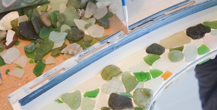 Easy DIY Sea Glass Mirror - beach themed decor 18