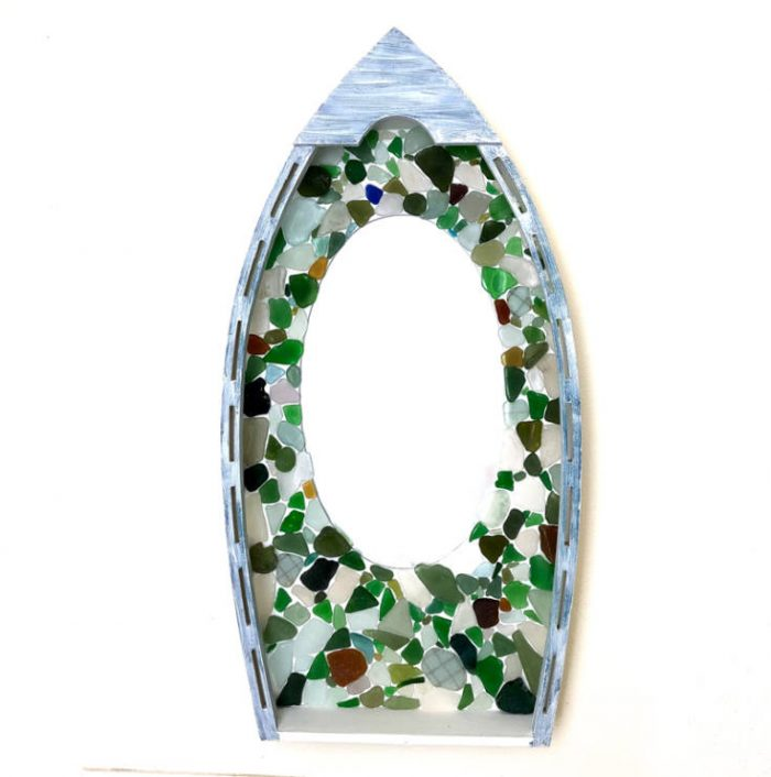 Easy DIY Sea Glass Mirror - beach themed decor