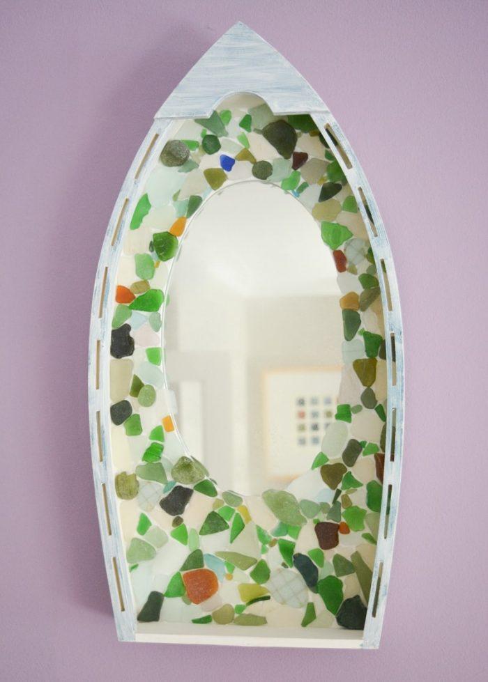 Easy DIY Sea Glass Mirror - beach themed decor 20