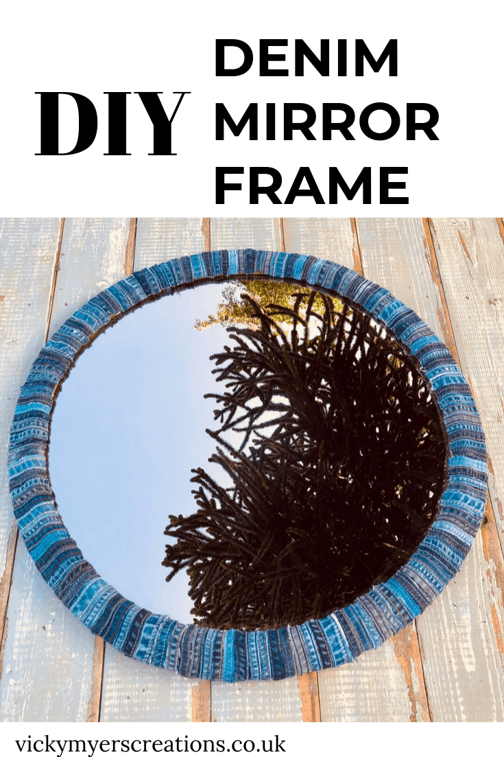 DIY Denim Mirror Frame, a perfect no sew old jeans craft project 2