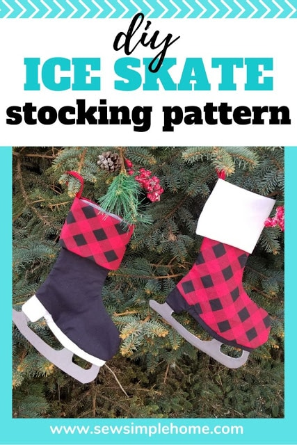 Free Ice Skate Christmas Stocking PDF Pattern + SVG Cut File