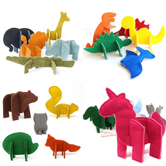 Felt Puzzle Animals PDF Sewing Pattern