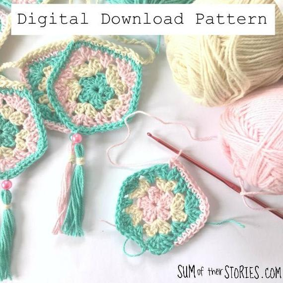 Pentagon Bunting Crochet Pattern Digital Download