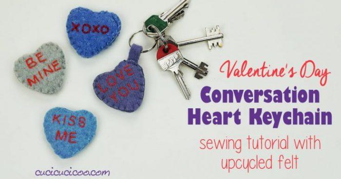Conversation Heart Valentine's Day Keychain Sewing Tutorial