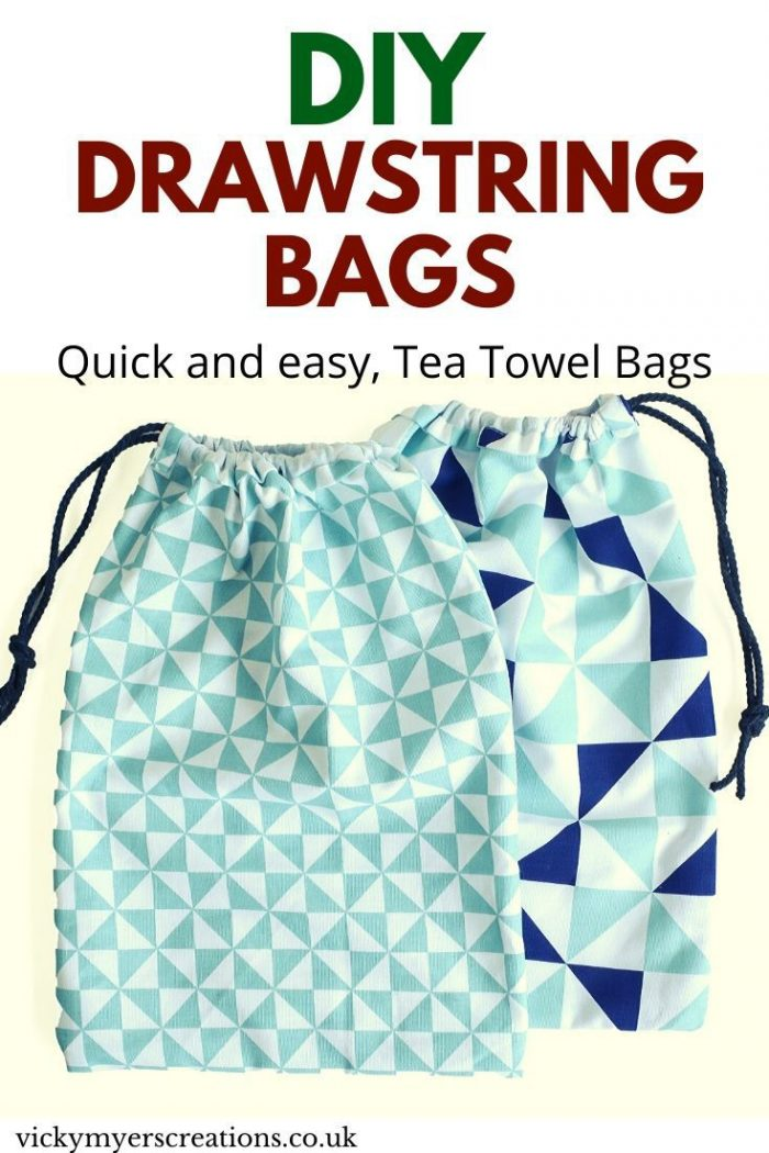 How to make a drawstring bag, using a tea towel - a super quick and easy sew, perfect for beginners