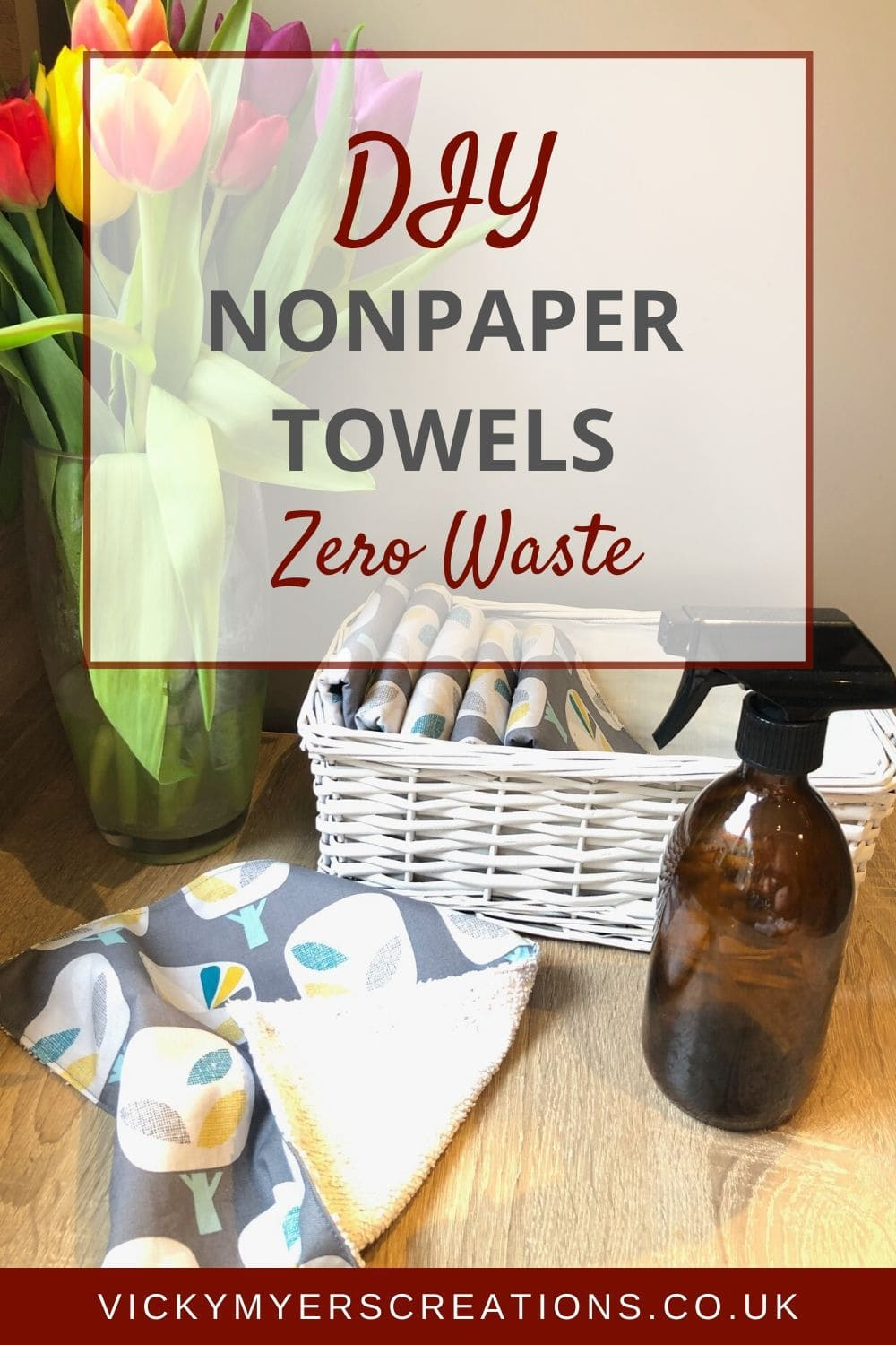This DIY for unpaper towels involves no snap's - grab a reusable kitchen towel from a basket and you are good to go, quick and easy. Unpaper towels are an easy eco swap, ditch the single use reusable paper towels, and make yourself some lovely reusable fabric ones.